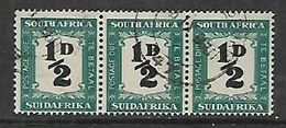 S.Africa 1948, 1/2D Postage Due, Horizontal Strip Of 3 Used, - Zuid-Afrika (...-1961)