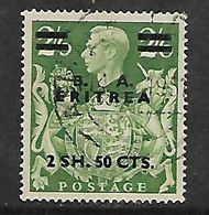 British Occupation Of Italian Colonies, ERITREA, 2SH50CTS  / 2/6 Of GB, Used - Great Britain (former Colonies & Protectorates)