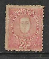 Tonga 1895 2 1/2d Rose, MH *, Toned - Tonga (...-1970)