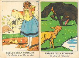 Chromos, Lot De 5 Fables De La Fontaine: Renard Et La Cigogne, Loup Et L'Agneau, La Laitière Et Le Pot Au Lait - Trade Cards