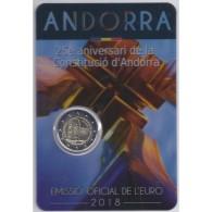 ANDORRE - 2 EURO 2018 - 25ème Anniversaire De La Constitution - COINCARD BU - Andorre