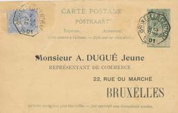 ZZ671 - Entier Postal Armoiries REPONSE En EXPRES Télégraphique Bruxelles Central 1901 - Repiquage Sur La Réponse - Entiers Postaux