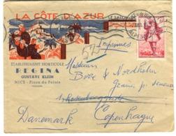 Enveloppe Publicitaire CÔTE D'AZUR Le Salon De ? Horticulture Nice BEAU GRAPHISME COULEURS 1953 - 1921-1960: Moderne