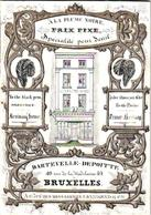 1 Carte De Visite Carte Porcelaine A LA PLUME NOIRE ( Pen, Feder, Pluim ) Bruxelles Dartevelle Depoitte, Imp. D. Levy - Tarjetas De Visita