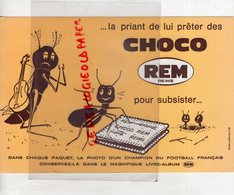51- REIMS- BUVARD CHOCOLAT REM- CHOCO REM-FOURMI GUITARE GUITARISTE- CHAMPION FOOTBALL - Chocolat