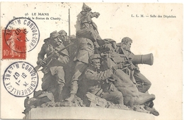 LE MANS . BAS RELIEF DE LA STATUE DE CHANZY . AFFR SUR RECTO LE 31-1-1907 - Le Mans