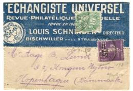 25 C Surcharge Sur 35 + 5 C Sur Bande Journaux Vers Le Danemark 1927 Echangiste Universel - Frankreich