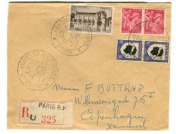Très Bel Affranchissement Tricolore 2.40, 10, 15 Sur Lettre Recommandée Vers Le Danemark 1948 - Frankreich