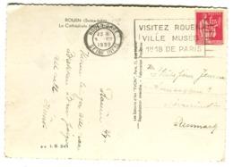 PAIX 1.25 Seul Sur Cpa Vers Le Danemark 1939 - Frankreich
