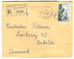 ALPINISME 75 C Seul Sur Lettre Recommandée Vers Le Danemark 1956 - Frankreich