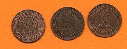 France -Napoléon III  - Lot De 3 Piéces De 2 Cts De 1862 K - Cat Fayette N° 104 -  Tres Bon état - France
