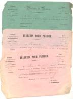 Tribunal De BOURGANEUF 1858 - 3 Bulletins Remise Et Plaider  -  ( Fr37)Creuse - Décrets & Lois