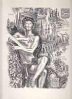Gravure DECARIS - Vins Bordeaux, Medoc, Saint-Emilion, Graves, Sauternes - Pub Verso Laboratoires Médial-Riker - Vieux Papiers