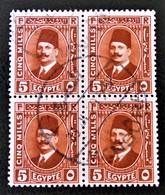 ROYAUME - ROI FOUAD 1ER 1927/32 - MAGNIFIQUE OBLITERATION SUR BLOC DE QUATRE - YT 122 - Egypt
