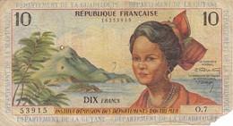 BILLETE DE GUADELOUPE DE 10 FRANCS DEL AÑO 1964 (BANKNOTE) MARTINIQUE-GUYANE-GUADALUPE - Guyane Française