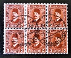ROYAUME - ROI FOUAD 1ER 1927/32 - MAGNIFIQUE OBLITERATION SUR BLOC DE SIX - YT 122 - Egypt