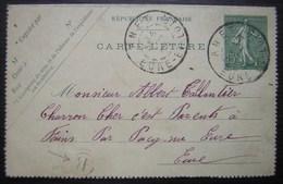 Annet Eure-et-Loir 1905 Carte-lettre Origine Rurale B ( Rouvres) Pour Le Charron De Fains - Marcophilie (Lettres)