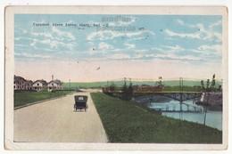 GARY IN, OLD CAR ON CALUMET RIVER DRIVE, TROLLEY CROSSING BRIDGE 1920s Postcard - Gary