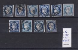 FRANCE N°4 Obl. Grille B / TB 10 Ex. Du 25 C. Type Ceres ( Pas D'aminci ) Cote 600 Euros - 1849-1850 Ceres