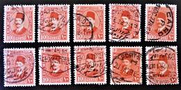 ROYAUME - ROI FOUAD 1ER 1927/32 - OBLITERES - YT 123 - VARIETES DE TEINTES ET D'OBLITERATIONS - Egypt