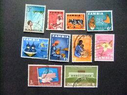 ZAMBIA ZAMBIE 1964 Petite Collection D'anciens Timbres Yvert N 1 7 8 9 11 12 13 23 26 31 FU - Zambia (1965-...)