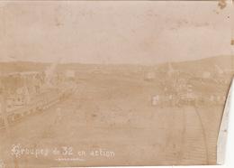 Photo 14-18 Artillerie Lourde Sur Voie Ferrée, Groupe De Canons De 320 En Action De Tir (A191, Ww1, Wk 1) - Guerre 1914-18