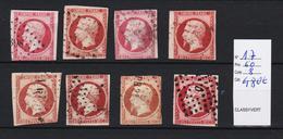 FRANCE N° 17 X  8 Ex. Tb D'aspect   ( Pas D'aminci ) Cote 480  Euros - Stamps