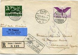 """SUISSE LETTRE RECOMMANDEE PAR AVION AVEC CACHET """"1926 NOVEMBER......AFRIKAFLUG"""" DEPART ZURICH 28 XI 26.... POUR L'EGYPTE - Posta Aerea"""