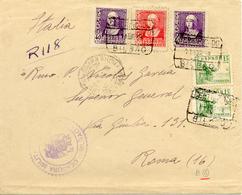 1938 Lettre Recommande De Bilbao Vers Roma, Censure Et Divers Obliterations. Guerre D'Espagne. Voir 2 Scan - Marcas De Censura Nacional