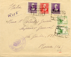 1938 Lettre Recommande De Bilbao Vers Roma, Censure Et Divers Obliterations. Guerre D'Espagne. Voir 2 Scan - Bolli Di Censura Nazionalista