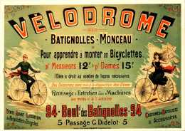Publicité  - Vélodrome - Batignolles Monceau - Apprendre A Monter En Bicyclette - R/V  - Repro - SC73-4 - Werbepostkarten