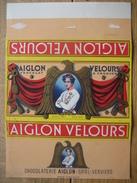 Emballage Superbement Illustré Chocolat AIGLON CHOCOLATERIE AIGLON S.P.R.L. VERVIERS -Tablette 350 Grs AIGLON VELOURS - Cioccolato