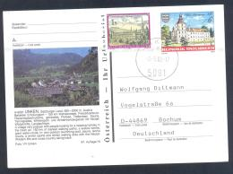 Austria PS  Postal Stationery 1988: Architecture Castle Church Monastery; Stift Kirche Schloss Schwarzenau: UNKEN; Mount - Ferien & Tourismus