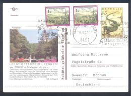 Austria Postal Stationery 2002: Fauna Smaragdeidechse; STRASS Church Kirche Slogan; Bridge Flowers - Holidays & Tourism
