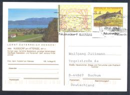 Austria Postal Stationery 2002: Fauna Fish Huchen; Nussdorf Attersee Church; Slogan Cancellation Frama Label 3 - Holidays & Tourism