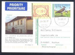Austria Priority Postal Stationery 2002: Fauna Bird Vogel Kiebitz; MARZ Rathaus; Tourism Architecture Frama 1,50 - Holidays & Tourism