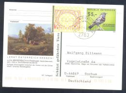 Austria Postal Stationery 2002: Fauna Bird Vogel Blaukelchen; MIESENBACH; Tourism Frama 2,00; Paintings Cows Trees - Holidays & Tourism