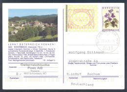 Austria Postal Stationery 2002: Flora Flowers Veilchen; SCHONBACH Tourism Church Kirche Frama 3,00 - Sonstige