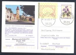 Austria Postal Stationery 2002: Flora Flowers Veilchen; SALLINGBERG Tourism Church Kirche Frama 3,00 - Holidays & Tourism