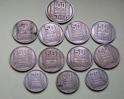 Lot De Pièces 100, 50 Et 20 Francs Algérie - Colonies
