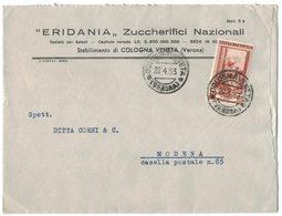 AL80   Busta Pubblicitaria - ERIDANIA Zuccherifici Nazionali - Cologna Veneta - £.25 Italia Lavoro Isolato 1953 - 6. 1946-.. Repubblica