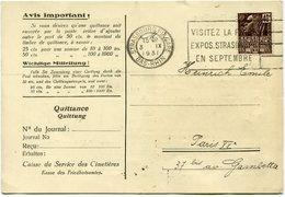 FRANCE CARTE SERVICE DES CIMETIERES (ENTRETIEN TOMBE) AVEC RECEPISSE DU MANDAT DEPART STRASBOURG 3 IX 1931 POUR LA... - Brieven En Documenten