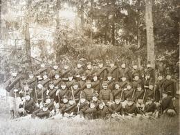 Grande Photo Groupe Militaire Soldat Fusil - Guerre, Militaire