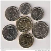 Yugoslavia Complete 1993.coin Set  KM#154-159 And KM#167 - Joegoslavië