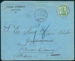 Egypt 1919 Port Said Credit Lyonnais Cover To France CANCELS - Egypt