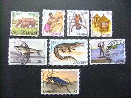 ZAMBIA Zambie 1968 Petite Collection D'anciens Timbres Yvert N 133-241-249-250-287-308-311-341 FU - Zambia (1965-...)
