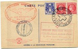 FRANCE CARTE POSTALE AVEC CACHET ROUGE AVIATION SANITAIRE SOCIETE....MILITAIRES AVEC OBL. EXPion PHILATque CROIX ROUGE.. - Croix-Rouge