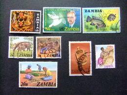 ZAMBIA Zambie 1968 Petite Collection D'anciens Timbres Yvert N 65 -72-75-133-135-142-241-247 FU - Zambia (1965-...)