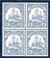 ** Markenbild-Probedrucke: Schiffszeichnung 2 Pfg. Grau, Tadellos Postfrischer Zusammendruck-Viererblock, Wobei Jede Mar - Briefmarken
