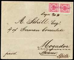 """Beleg 10 Pfg., Tadelloses, Senkr. Paar Auf Eingehendem Gef. Seepostbrief Nach Mogador, Violetter L1 """"Schiffsbrief"""" Und B - Briefmarken"""